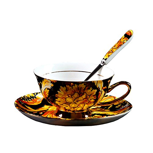 - Bone China Ceramic Tea Cup Coffee Cup,Phoenix Feather,Yellow And Black