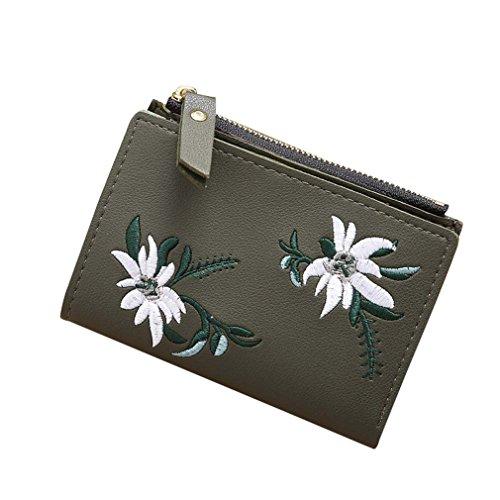 Girlsabag Women Clutch Wallet PU Zipper Short Wallet Coin Purse Card Holders Handbag Army Green