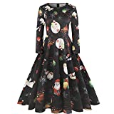 Tootu Home Clothing Christmas Plus Size Dress! Women Printed Lace Long Sleeve Mini Party Dress