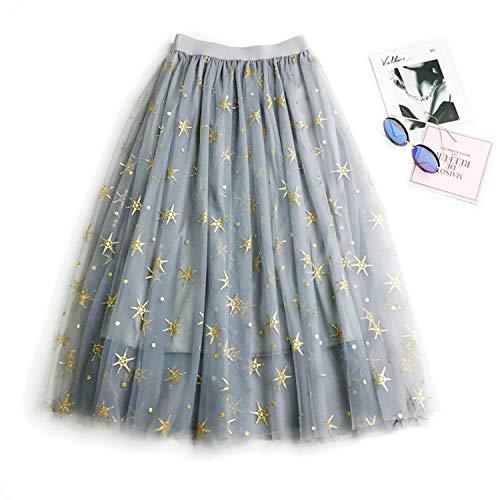 Womens Puffy Skirt Fairy Style Bronzing Tutu Skirt Star Print Voile Tulle Skirt Bouffant Skirts (Skirt Mini Big Star)