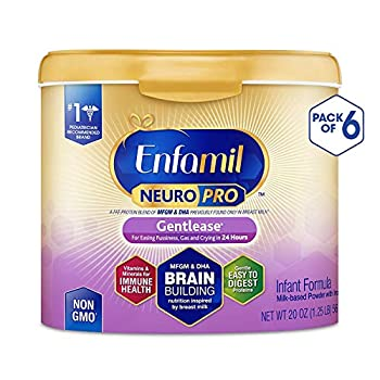 Image of Baby Enfamil NeuroPro Gentlease Baby Formula Gentle Milk Powder, MFGM, Omega 3 DHA, Probiotics, Iron & Immune Support, 20 Ounce (Pack of 6)