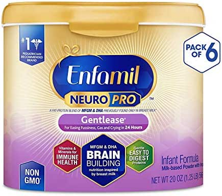 Enfamil NeuroPro Gentlease Infant Formula - Brain Building Nutrition Inspired by Breast Milk - Powder Can, 20 oz. (Pack of 6)