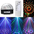 KSTON MP3 Crystal Magic Ball 6 color Rotating Strobe Disco Stage Christmas LED 12W RGB Ball Effect Light Disco DJ Stage Lightingwith Remote control for Party Wedding Show Club Pub