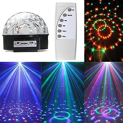 KSTON MP3 Crystal Magic Ball 6 color Rotating Strobe Disco Stage Christmas LED 12W RGB Ball Effect Light Disco DJ Stage Lightingwith Remote control for Party Wedding Show Club Pub
