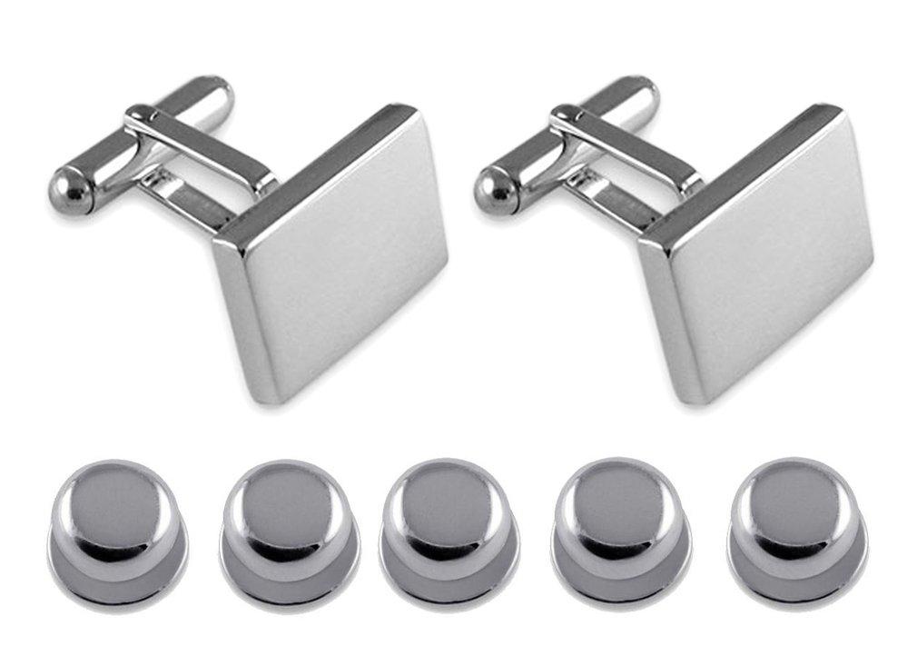 Sterling silver heavyweight plain rectangular Cufflinks Shirt Dress Studs Gift Set