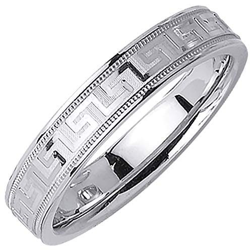 18K White Gold Designer Greek Key Men's Comfort Fit Wedding Band (4.5mm) Size-9c1