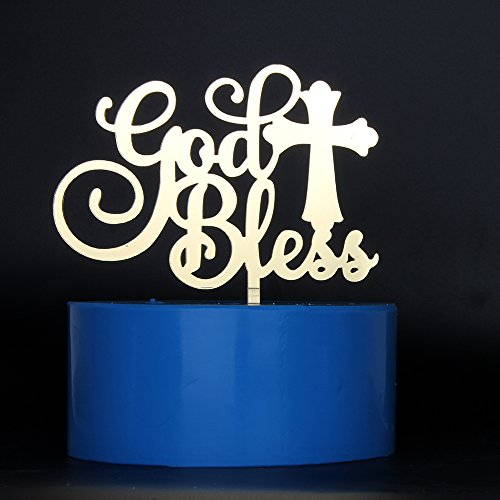 God Bless Cross Baby (MaiCaiffe Mirror Gold God Bless Cake Topper Baptism, Christening, Dedication or First Communion Decoration Supplies)