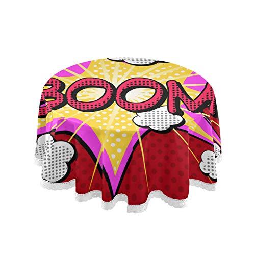 SIONOLY Mantel Redondo Cubremesa,Vector de explosion de Estilo comic Boom,Mesa de Cena Suave y solida para la Boda Partido Restaurante (Redono 152cm)