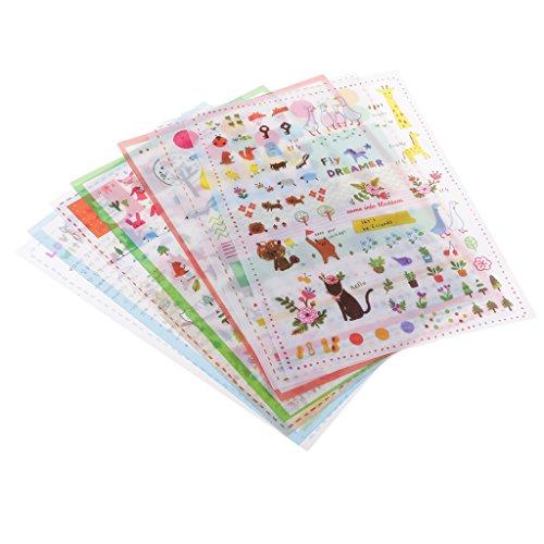 CUTICATE 12 Sheets Decorative Stickers Adhesive Transparent Rabbit Sticker, Incentive Stickers, Scrapbooking Album Decor