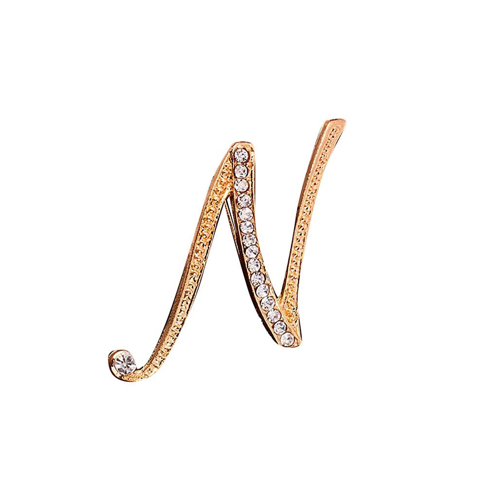 Toponly Memorial Jewelry Love Gifts A-Z 26 Letters Brooches Gold Plated Metal Broaches Pins-Clear Crystal Initial Breastpin