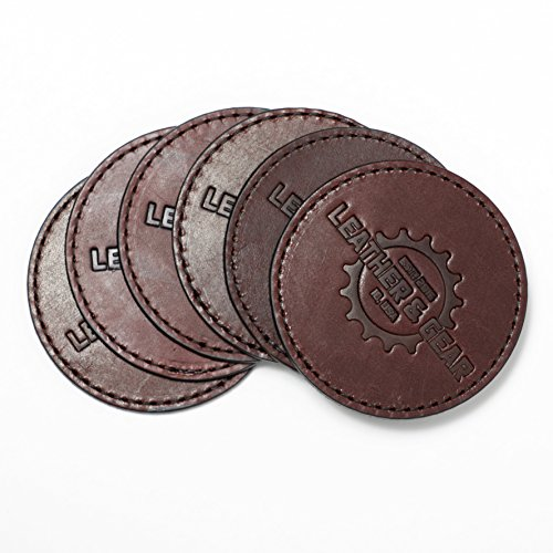 Leather Coasters - Set of 6 - Water Resistant with Breathable Backing and Slip Tin (Burgundy) (Round Bar Mesh Top Table)