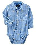 OshKosh B'Gosh Baby Boys' Button-Front Poplin Bodysuit, Pizza Print, 18-24 Month