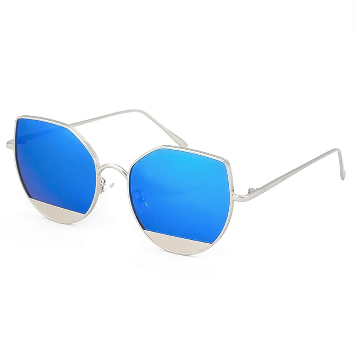 WISH CLUB Cat Eye Sunglasses Coating Mirrored Flat Lenses Fashion Metal Frame Women UV 400 (Blue)