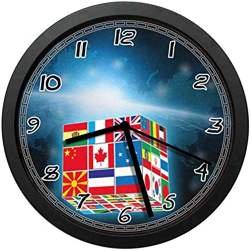(BCWAYGOD The National Flag Rubiks Cube Silent Wall Clock Non Ticking Decorative Wall Clock for Home Office School Battery Operated 12 inCH)