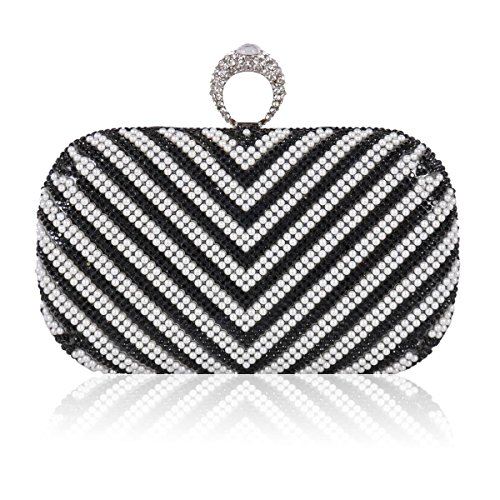 Elegant Crystal Black Bag Evening Clasp Ring Sparkling Women Pearl Damara CH5Swn