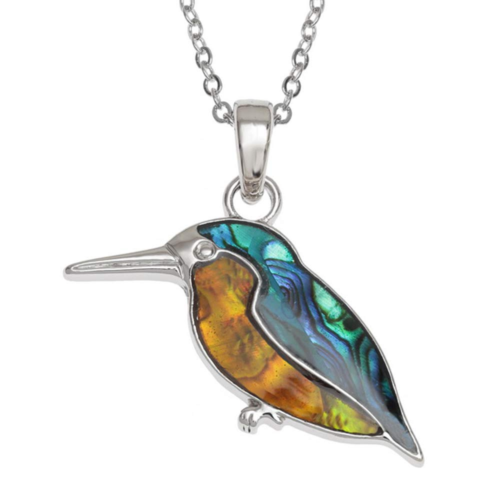 Hypoallergenic Chain Sustainably Sourced Silver Colour 45.7cm KINGFISHER Pendant Necklace inlaid with Blue and Orange Paua Abalone Shell on 18 inch