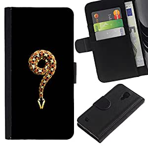 A-type (Minimalist Snake King Black Nature) Colorida Impresión Funda Cuero Monedero Caja Bolsa Cubierta Caja Piel Card Slots Para Samsung Galaxy S4 IV I9500