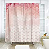 Hexagon Pink Multi Shower Curtain scocici Bathroom Curtain Separation Door Curtain Shower Curtain,Light Pink,Hexagon Forms Linked Abstract Beehive Gradient Toned Creative Image Decorative,Coral Peach Hot Pink,72