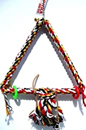 Bonka Bird Toys 1035 Medium Triangle Rope Swing Bird Toy Parrot Cage Toys Cages Conure African Grey