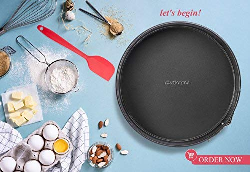 Springform Cake Pan NonStick 10-Inch – Premium LeakProof Cheesecake Bakeware with Cover Lid, Quick Release, Removable Bottom and Carrying Handle + Free Bonuses Silicone Spatula & Recipe eBook