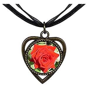 Chicforest Bronze Retro Style Red Rose Heart Shaped Pendant