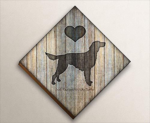 (Irish Red and White Setter Dog Diamond Shape Mounted Art Print by Dan Morris)