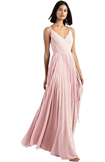 17f89760162d MEET V-Neck Chiffon Bridesmaid Dresses Long Pleated Spaghetti Straps  Backless Evening Gown
