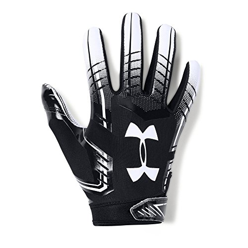 (Under Armour Boys' F6 Youth Football Gloves, Black (001)/White, Youth Large)