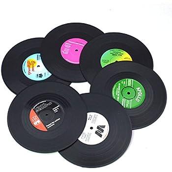 Amazon Com Vintage Record Disk Vinyl Cups Coasters Set