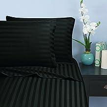 Elegant Comfort 1500-Thread-Count Microfiber Queen Stripe Stripe Sheet Set, Black