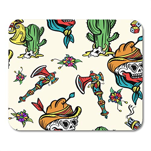 Semtomn Gaming Mouse Pad Wild West Old School Tattoo Western Cowboy Cactus Guns 9.5