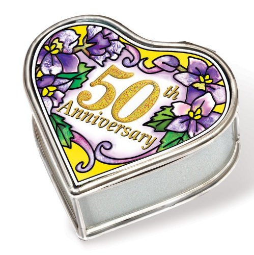 Amia 41136 Petite Heart Hand Painted Glass Jewelry Box, 50th Anniversary, 2-1/2-Inch Long