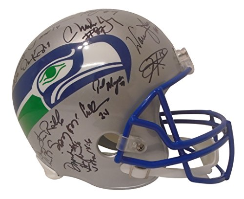 Largent Signed Steve Hand (Seattle Seahawks Legends and Alumni Team Autographed Hand Signed Riddell Full Size Football Helmet with 24 Signatures Total and Proof Photos of Signing, COA, Steve Largent, Dave Krieg, Jim Zorn)
