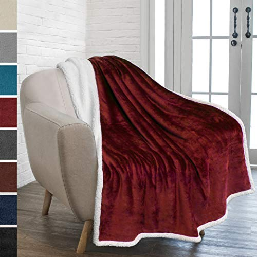 - PAVILIA Premium Sherpa Throw Blanket for Couch Sofa | Super Soft, Cozy, Plush Microfiber Burgundy Throw for Chair | Reversible Warm Flannel Fleece Solid Blanket(Wine Red, 50 x 60 Inches)