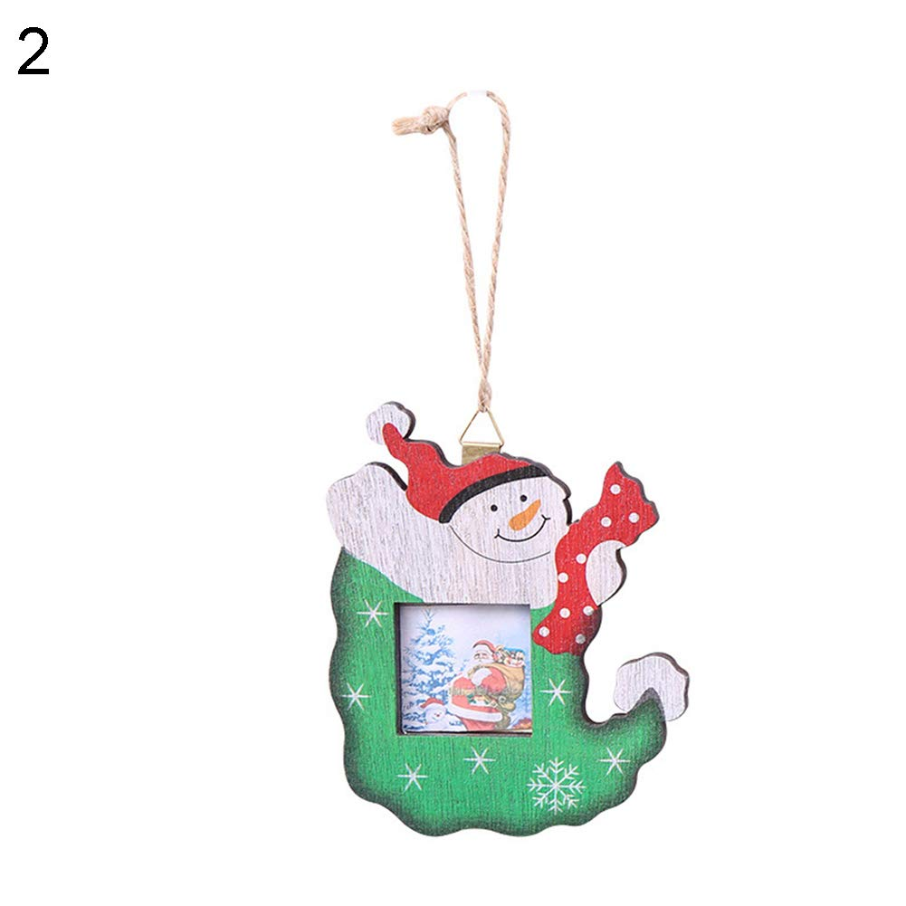 856store New Cute Santa Claus Snowman Sock Wooden Photo Frame Christmas Tree Hanging Decor - Snowman
