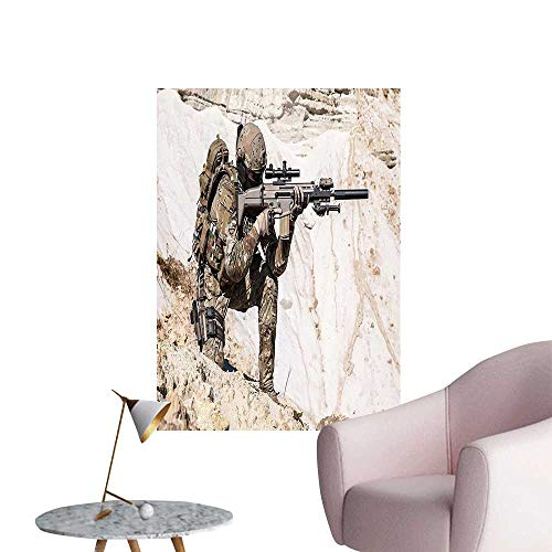 "Wall Painting United Stat Ranger The Mounta Gun Camouflage War Picture Beige Green High-Definition Design,32""W x 60""L"