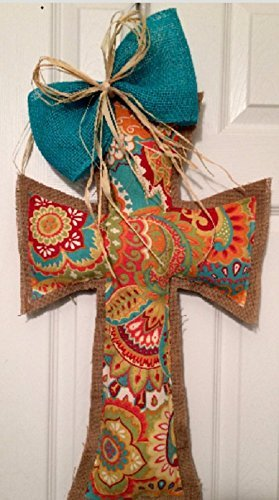 Large, Bold Multi Brights print cross and burlap door hanger with teal burlap and raffia bow
