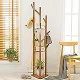 KSUNGB Clothes hat frame Bedroom Hanger Bamboo Solid wood Living room Clothes shelves Hanging hanger
