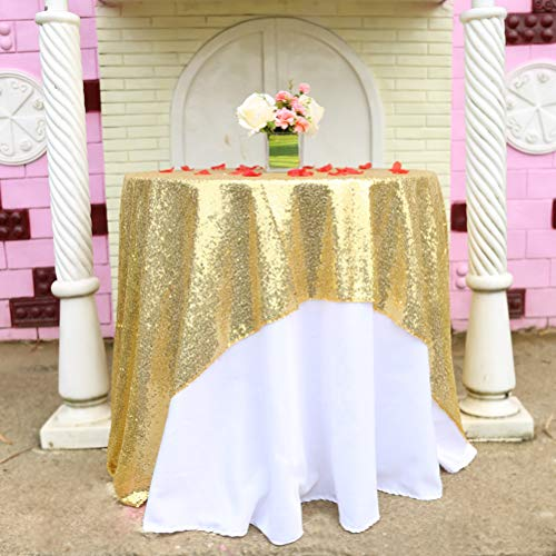 BalsaCircle TRLYC 50x50-Inch Square Sequin Tablecloth Wedding Happy New Year-Gold