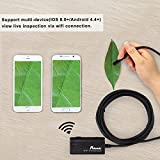 Wireless Endoscope, Potensic Wi-Fi Borescope Waterproof Inspection Camera 2MP CMOS Snake Camera for iPhone, Andorid Smartphone, PC - Black(10 Meter)