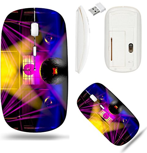 Liili Wireless Mouse White Base Travel 2.4G Wireless Mice with USB Receiver, Click with 1000 DPI for notebook, pc, laptop, computer, mac book Night club interior with colorful spot lasers and shining