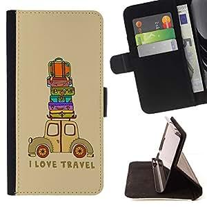 For Samsung Galaxy S6 Active G890A Case , Cita Viajes Maleta Marrón- la tarjeta de Crédito Slots PU Funda de cuero Monedero caso cubierta de piel