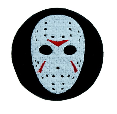 Hockey Mask Friday the 13th Patch Iron on Applique Horror Clothing Jason Voorhees -
