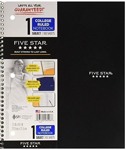 Star Wirebound Notebook, College Rule, Letter Size, White, 100 Sheets per Pad (06206) - Colors may vary (Notebook College Rule Letter)