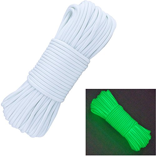 Glow in the Dark Zesty 21 Strand 550 Luminous Paracord Parachute Rope - Dark Rope