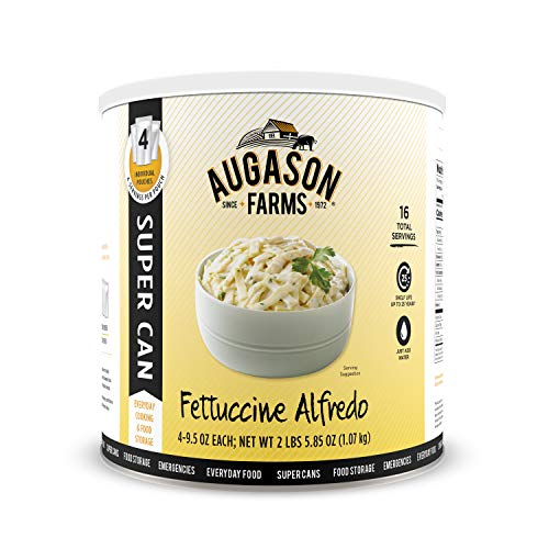 Augason Farms Fettuccine Alfredo Super CAN No. 10 Can with 4 Pouches Emergency Food Storage Everyday Meal Prep