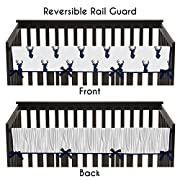 Sweet Jojo Designs Navy and White Woodland Deer Long Front Rail Guard Baby Teething Cover Crib Protector Wrap