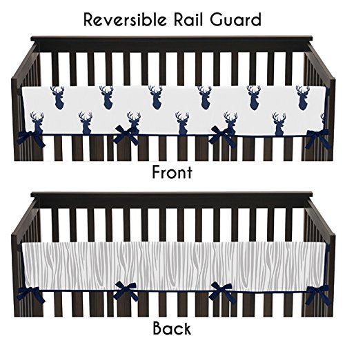 sweet-jojo-designs-navy-and-white-woodland-deer-long-front-rail-guard-baby-teething-cover-crib-prote