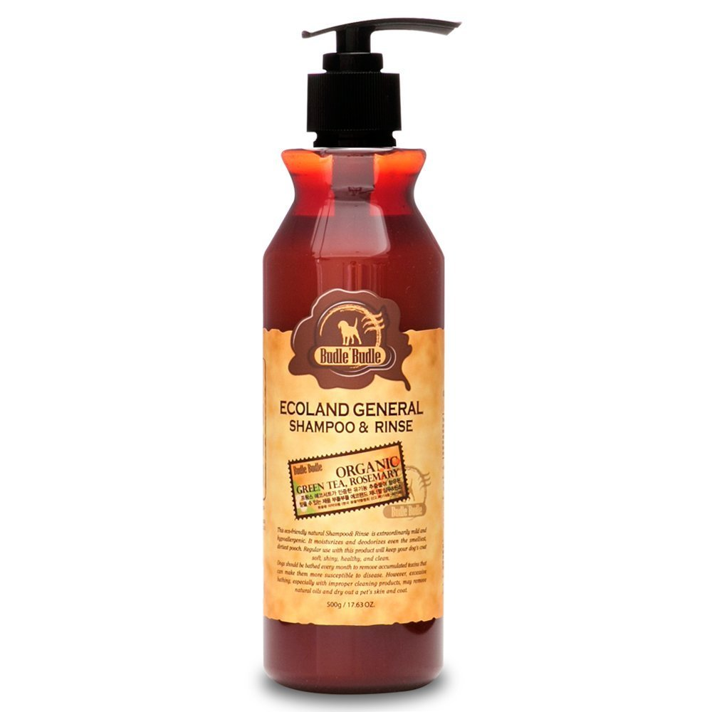 Budle Budle Ecoland General Dog Shampoo & Conditioner (Rinse) 500ml 16.9oz for All Pets Dogs Cats with Jojoba Oil, Tea Tree Leaf, Rosemary Leaf, Natural Organic Ingredients Locean Cosmetics