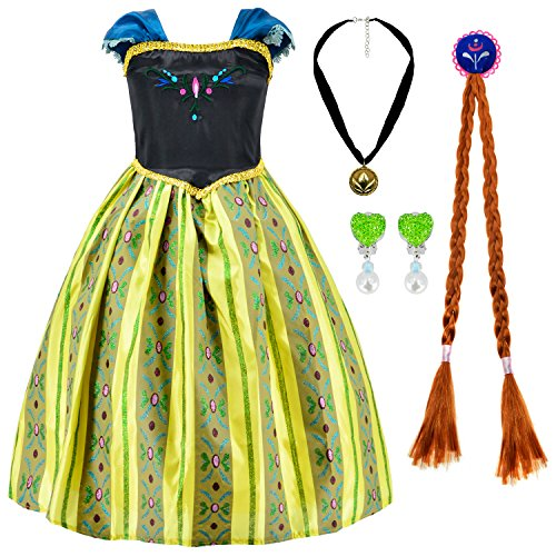 Princess Anna Dress Up Costume for Girls with Pincess Anna Accessories 10-12 (Girls Anna Costumes)
